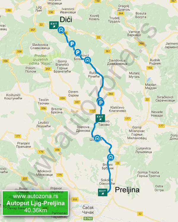 mapa autoputa beograd pozega Ljig Preljina mapa   AutoZona.rs mapa autoputa beograd pozega