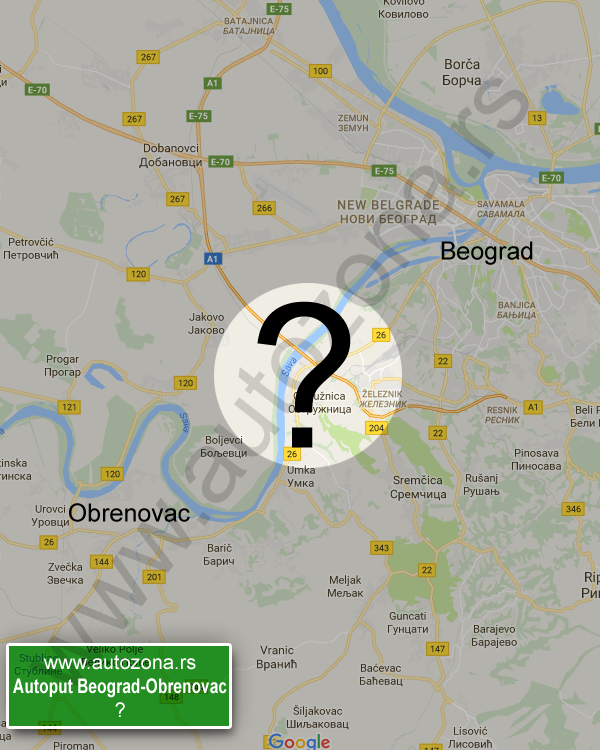 autoput 18 beograd mapa Autoput Beograd Obrenovac mapa   AutoZona.rs autoput 18 beograd mapa