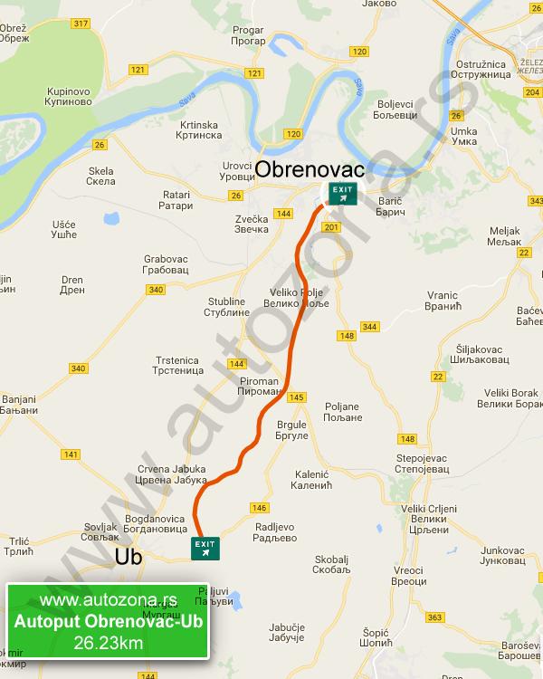 obrenovac karta srbije Autoput Obrenovac Ub mapa   AutoZona.rs obrenovac karta srbije