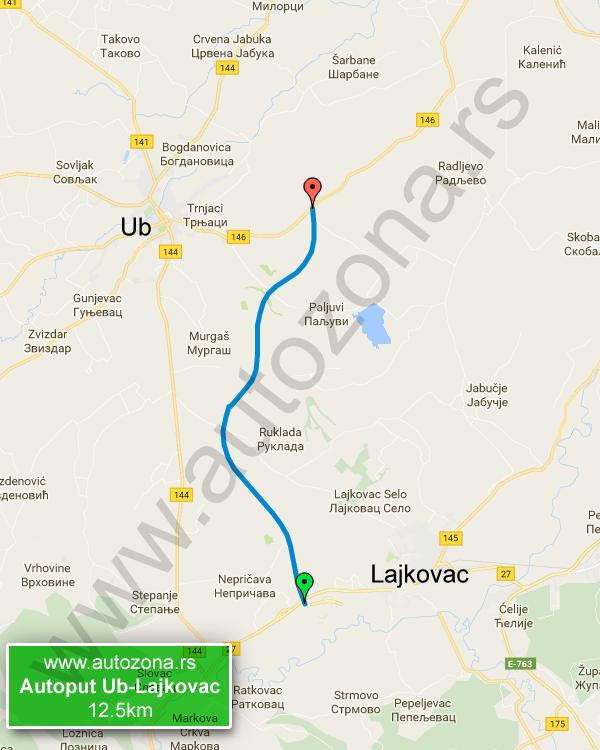 ub mapa Autoput Ub Lajkovac mapa   AutoZona.rs ub mapa