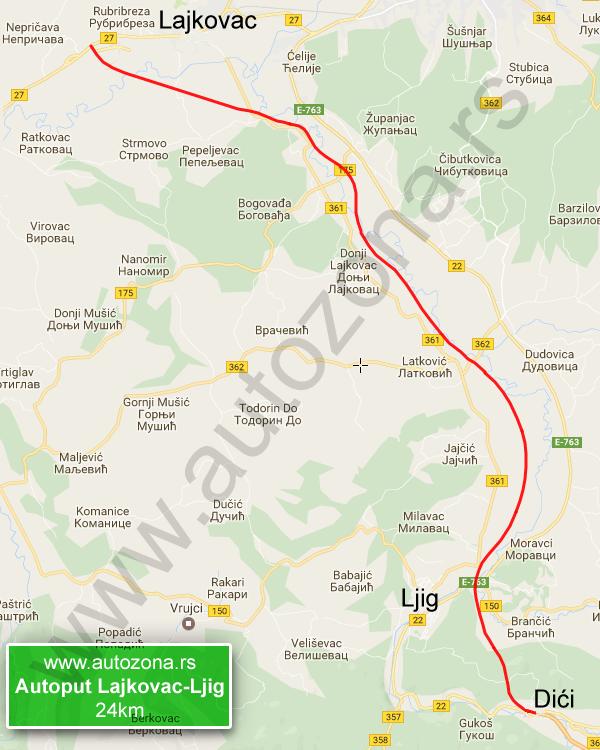 ub mapa Autoput Lajkovac Ljig mapa   AutoZona.rs ub mapa
